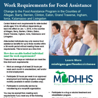 New Food Assistance Work Requirements