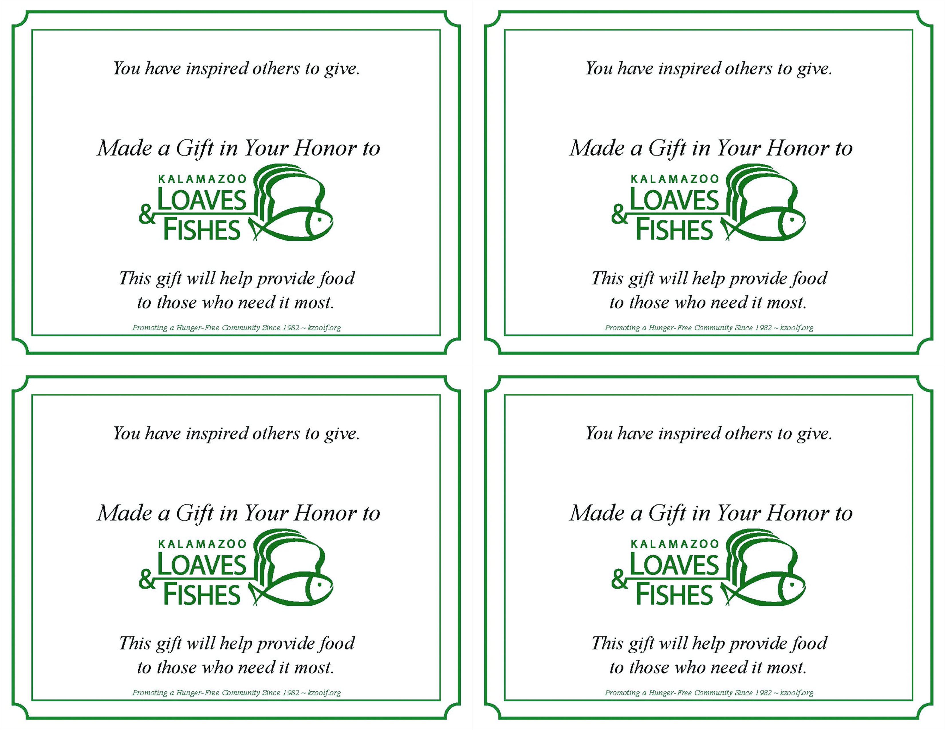 Donation Recognition Cards 2