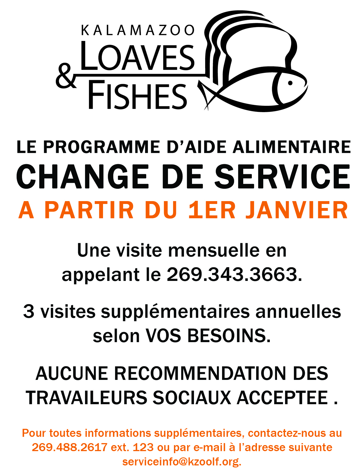 Service Change Handout French